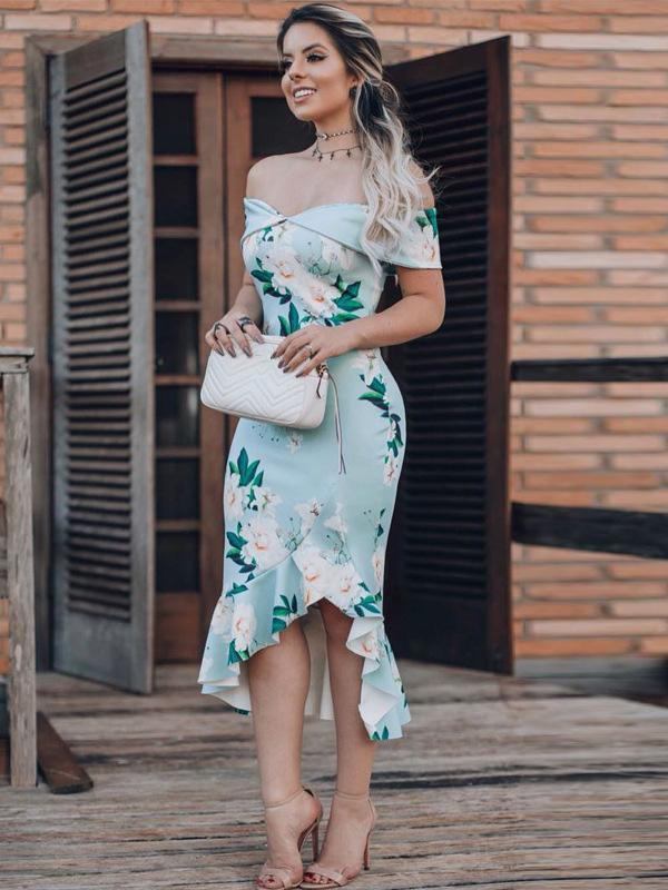 5 Colors Printed Bodycon Sexy Midi Dress