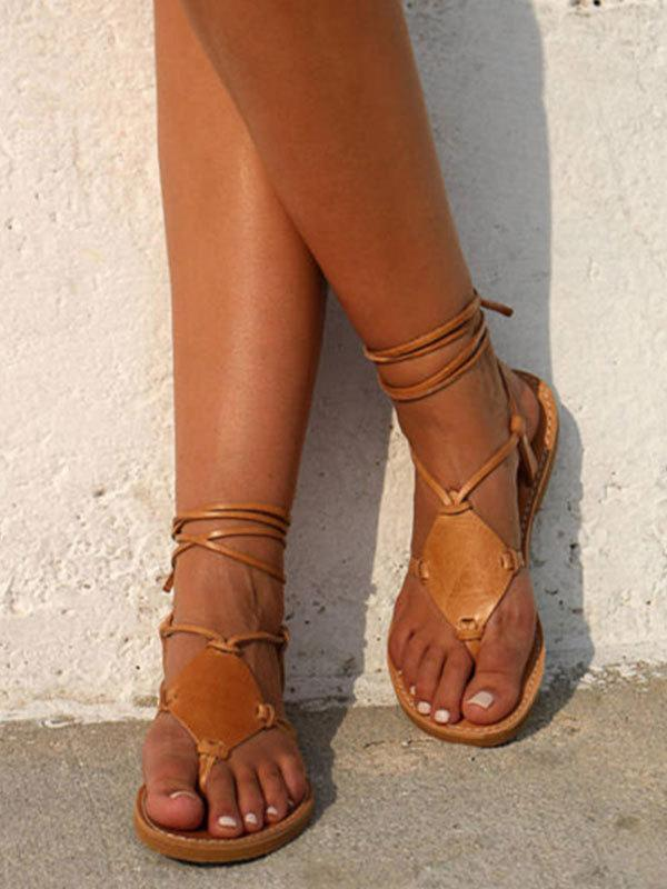 Bandage Ankle-Wrap Solid Sandals