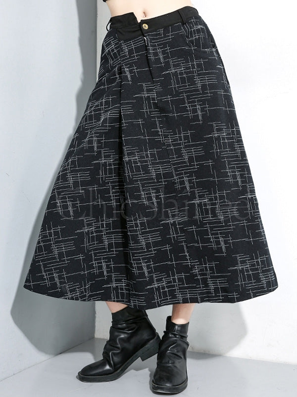 Loose A-line Elastic Waist Cropped Skirt