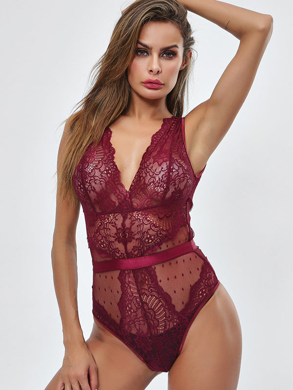 Lace See-through Deep V-neck Sexy Lingerie