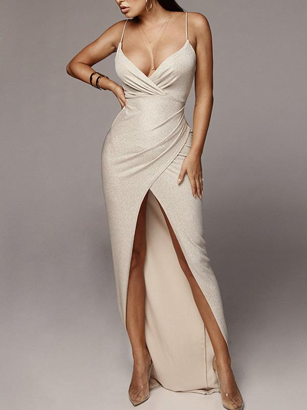 V-neck Spaghetti-neck Maxi Dress
