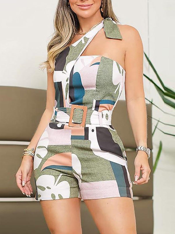 Sexy Printed Sleeveless Inclined Shoulder Romper