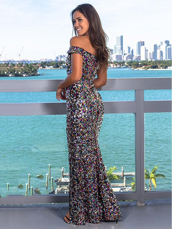 Sexy Off-the-shoulder Sequined Split-side Maxi Dresses
