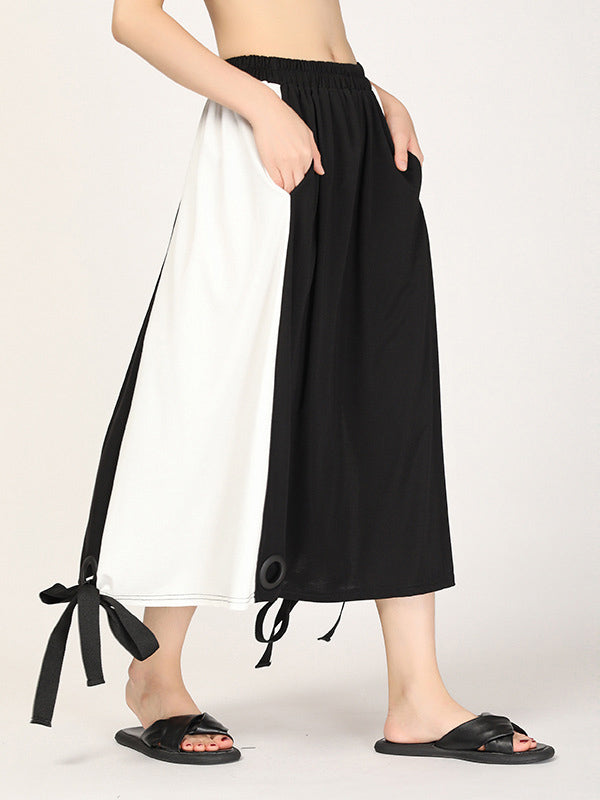 Loose Split-joint Lace-up Skirt