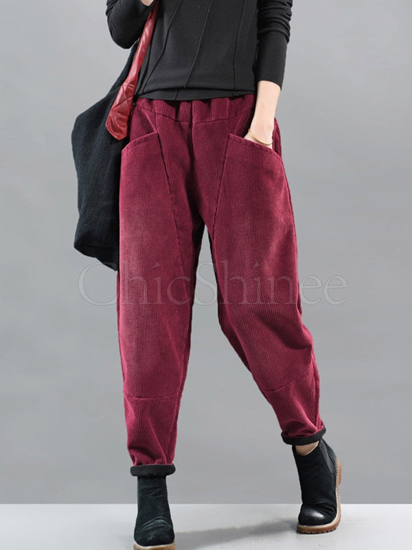 Solid Corduroy Thickening Splicing Harem Pants