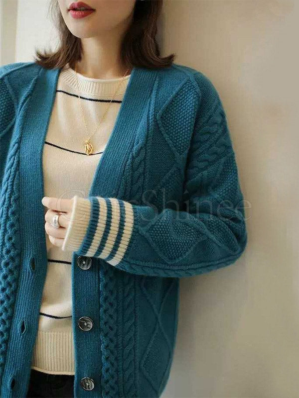 Loose Twisted Floral Wool Knitting Cardigan Outwear