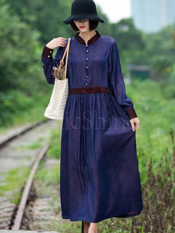 Casual Solid Linen Hemline Maxi Dress
