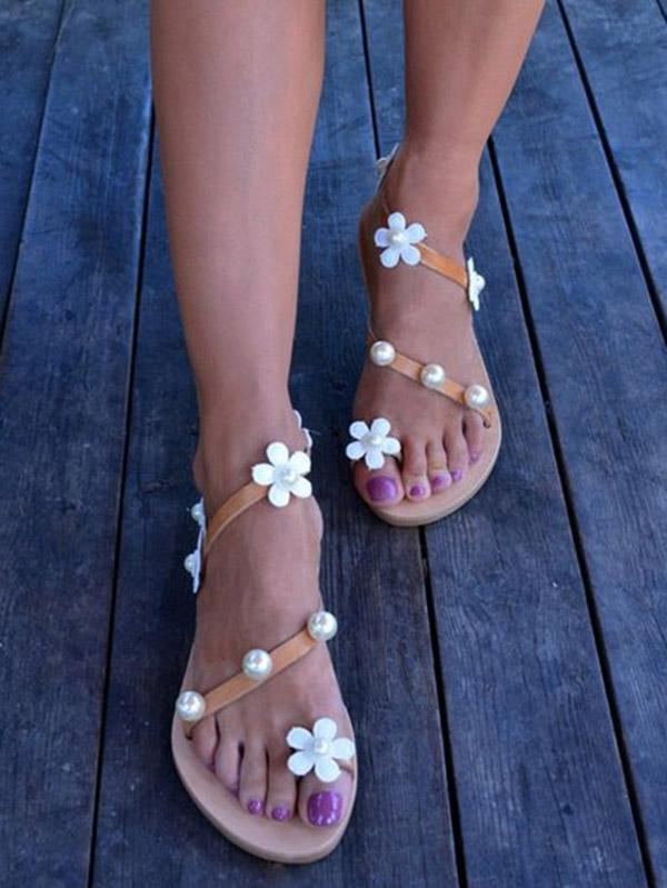 Flat Flower and Pearl Adornment Toed Sandals