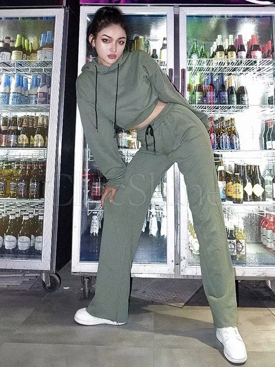 Loose Solid Drawstring Hoodie&Pants Sports Suits