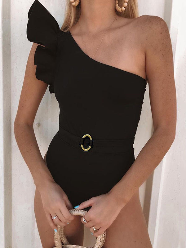 Falbala One Shoulder Plain One Piece Swimsuit