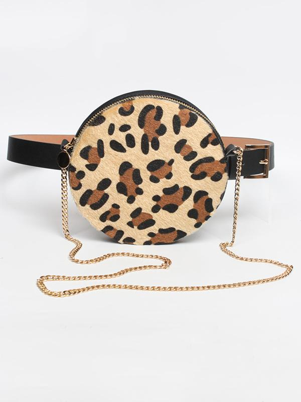 Leopard Circle Belt With Bag