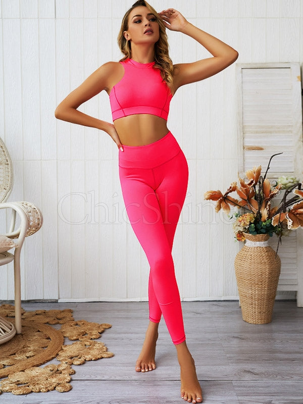 Fluorescent Back Zipper Sports Bra&Leggings Suits