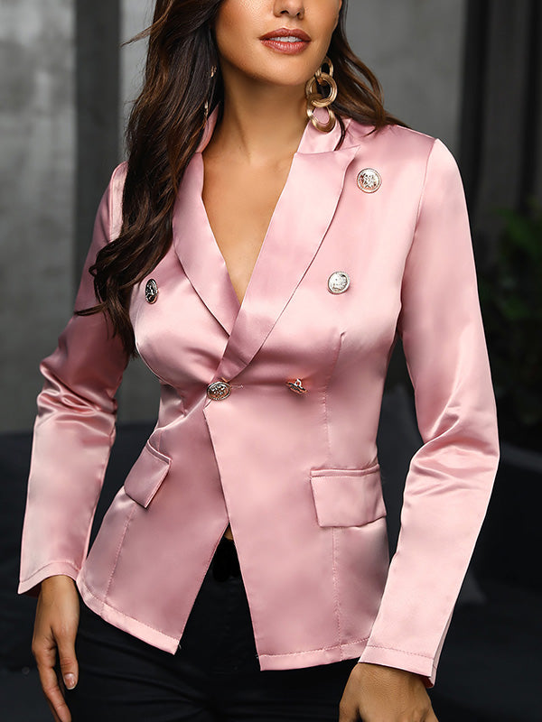 Solid Double-Breasted Blazer Coat