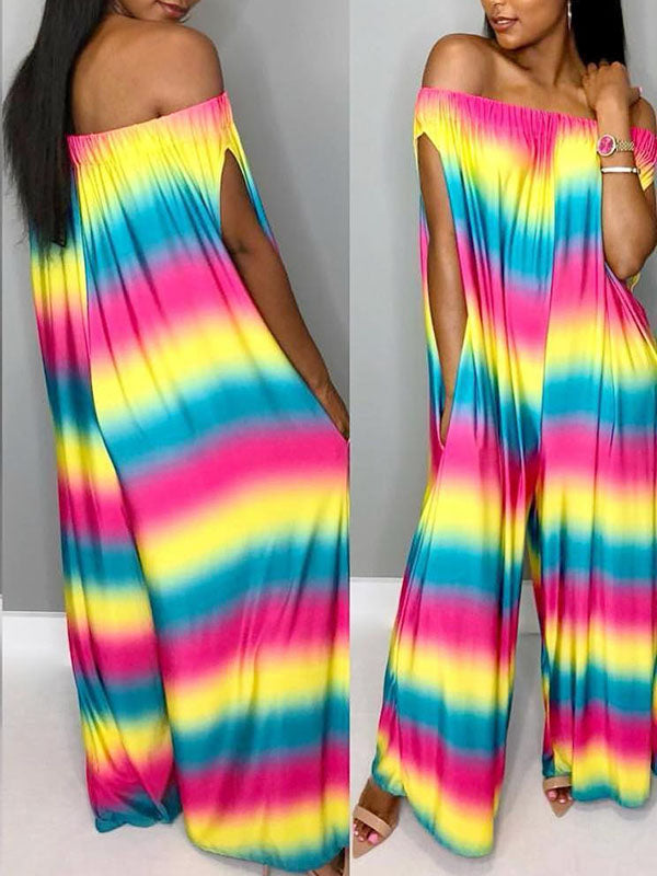 Loose Column Rainbow Jumpsuit Bottoms
