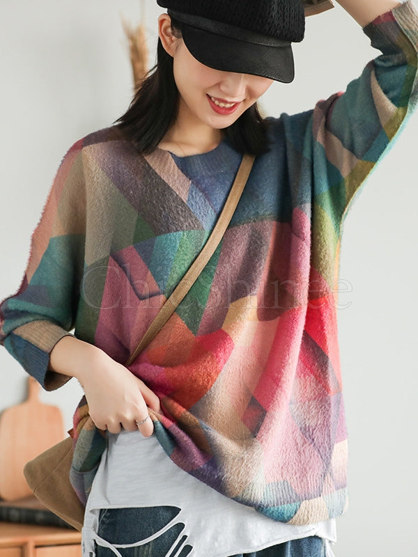 Vintage Color Matching Printed Sweater