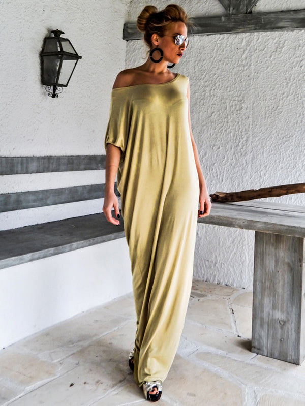 Simple Asymmetric Round-neck Maxi Dress