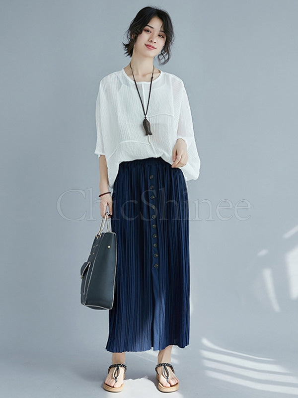 Casual Pleated Split-front Skirt