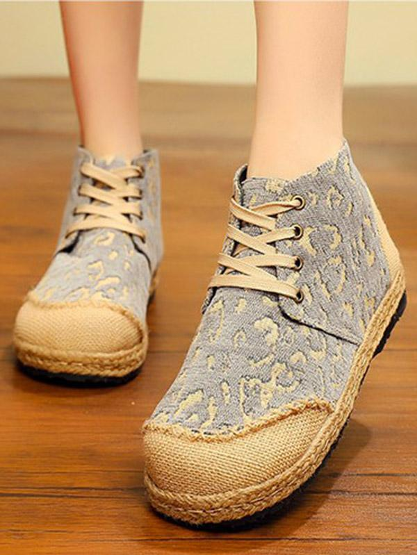 Leopard Thick Bottom Straw Shoes