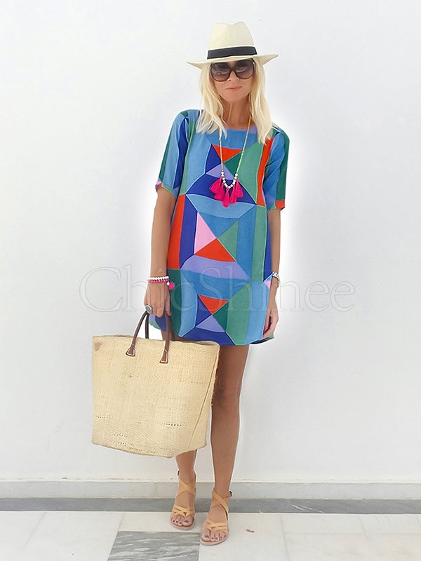 Geometry Printed Round-neck Mini Dress