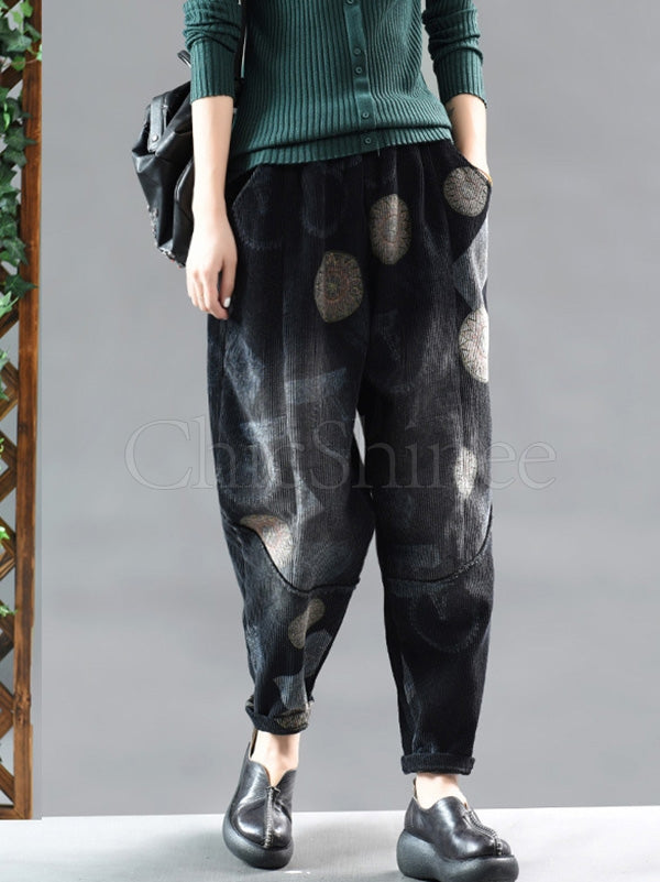 Tie-Dyed Printed Stitching Velvet Harem Pants