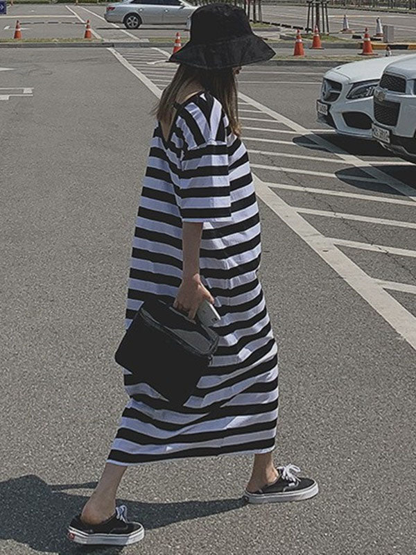 Loose Comfortable Simple Striped Long Dress