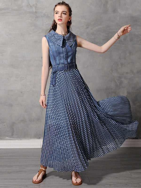 Original Polka-dot Pleated Belted Long Dress