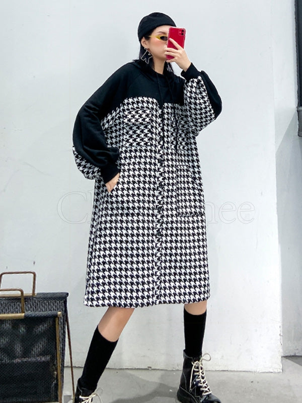 Loose Splicing Houndstooth Long Woolen Hoodie