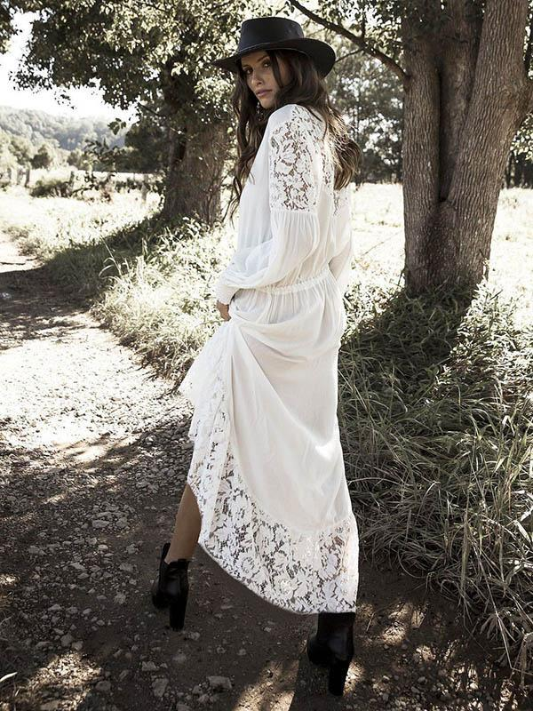 Lace Split-joint Hollow Maxi Cover-up