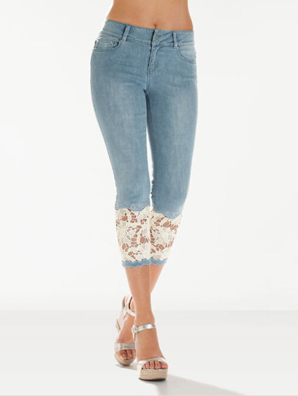Fashion Lace Insert Cropped jeans