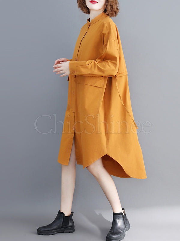 Loose Drawstring Large Pocket Shirt Dress