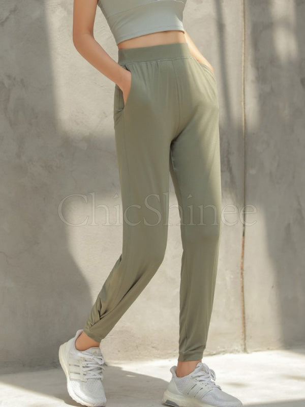Quick-dry Solid Ruffled Elasticity Sports Pants