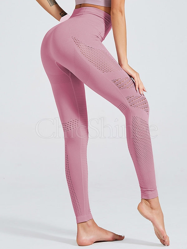 Solid Side Hollow Knitting-seamless Fitness Leggings