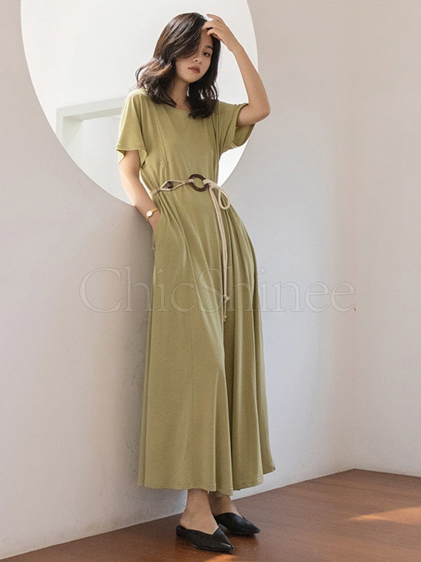 Casual Solid Belted Hemline Maxi Dress