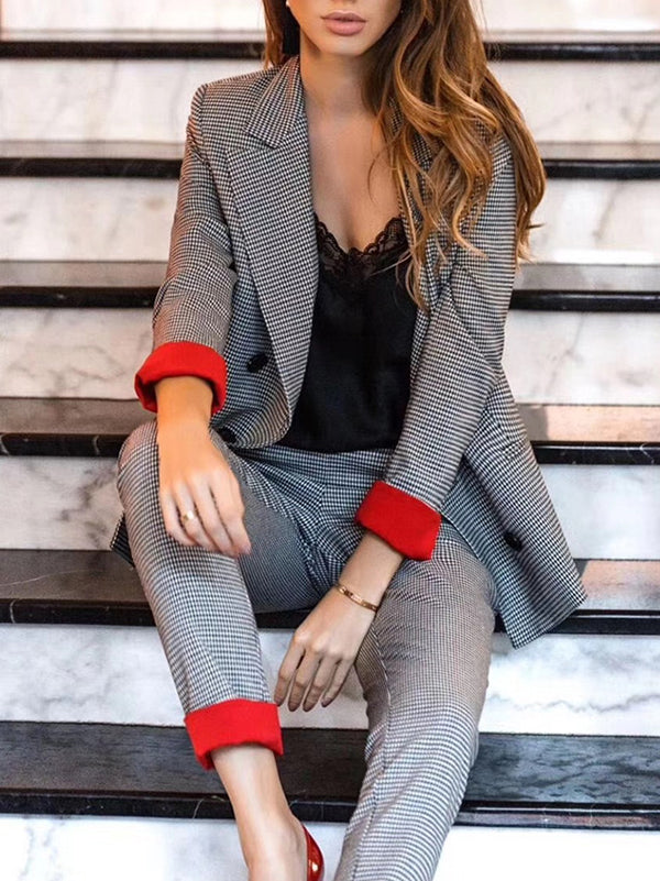 Simple Outwear Tops And Trousers Two-piece Suits