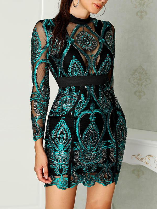 Fashion Lace Green Mini Dresses