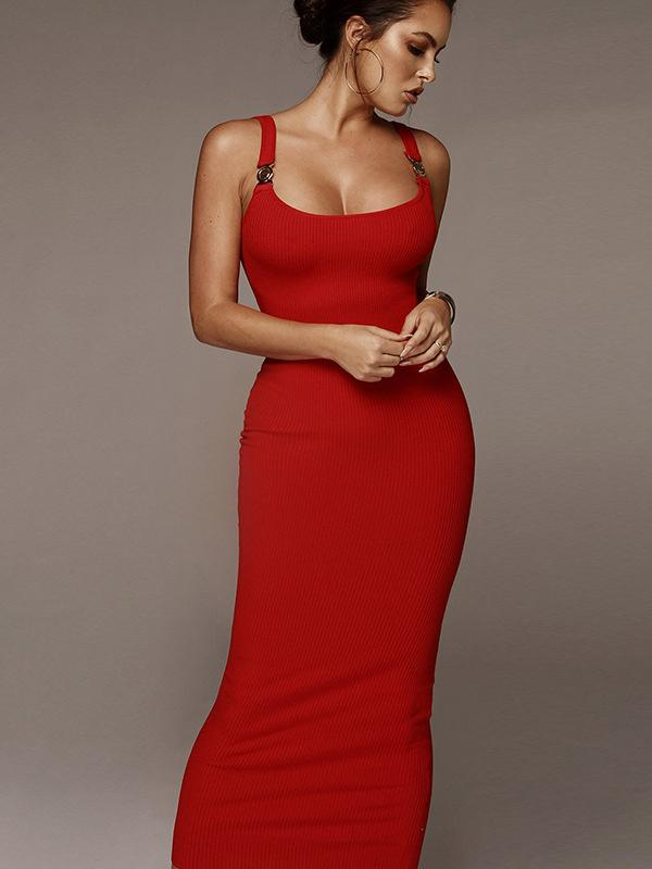 Pretty Solid color Bodycon Maxi dresses