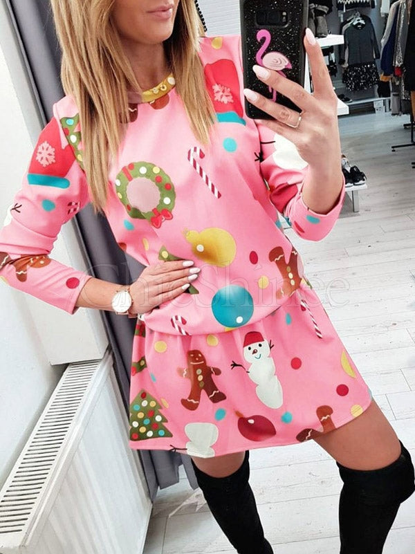 Christmas Elements Printed Mini Dress