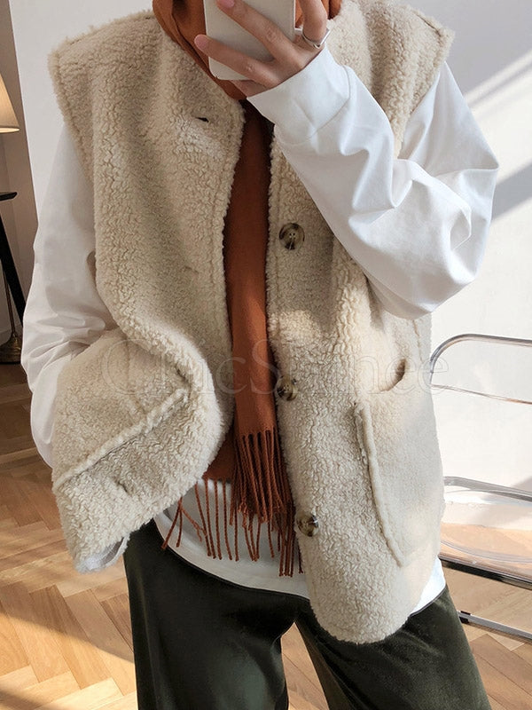 Casual Lamb Wool Vest Top