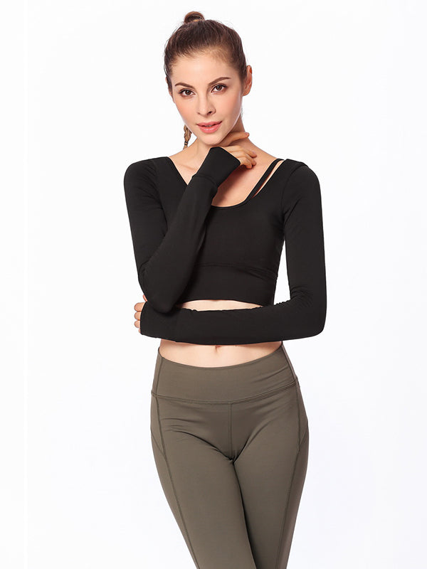 Backless Long Sleeve Yoga Tees