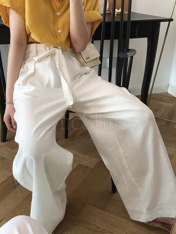 Simple Empire Belted Wide Leg Pants