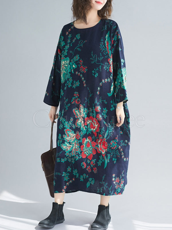 Vintage Large Flower Round-Neck Midi Dress