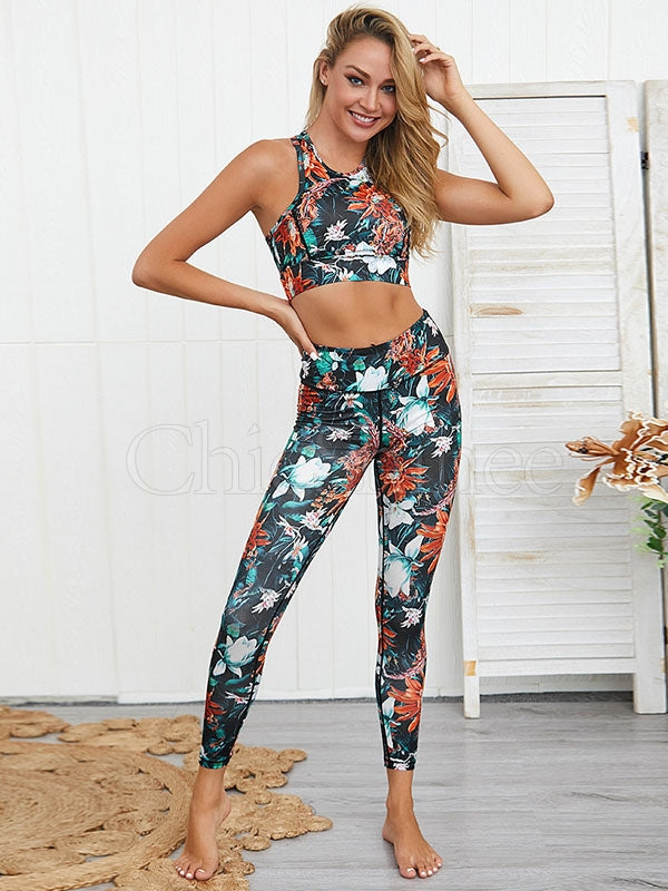Breathable Floral Printed Sports Bra&Leggings Suits