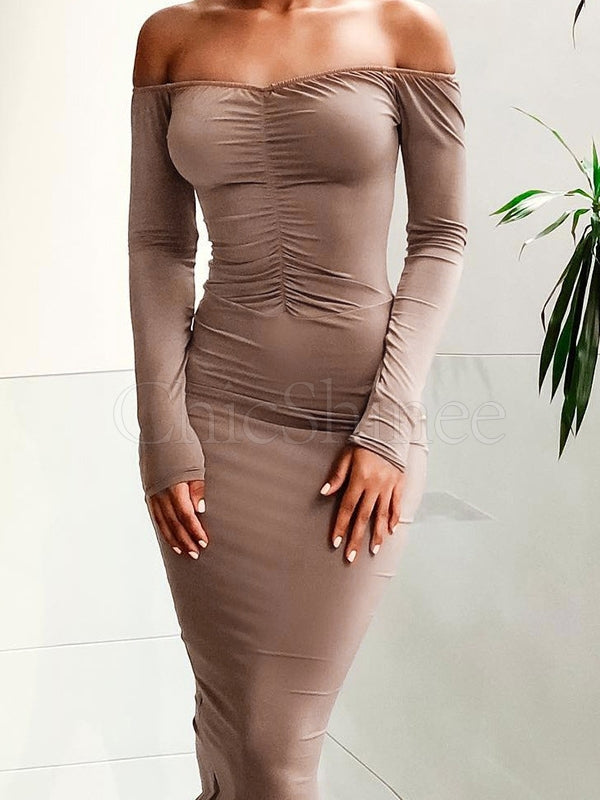 Long Sleeve Off-the-shoulder Bodycon Midi Dress