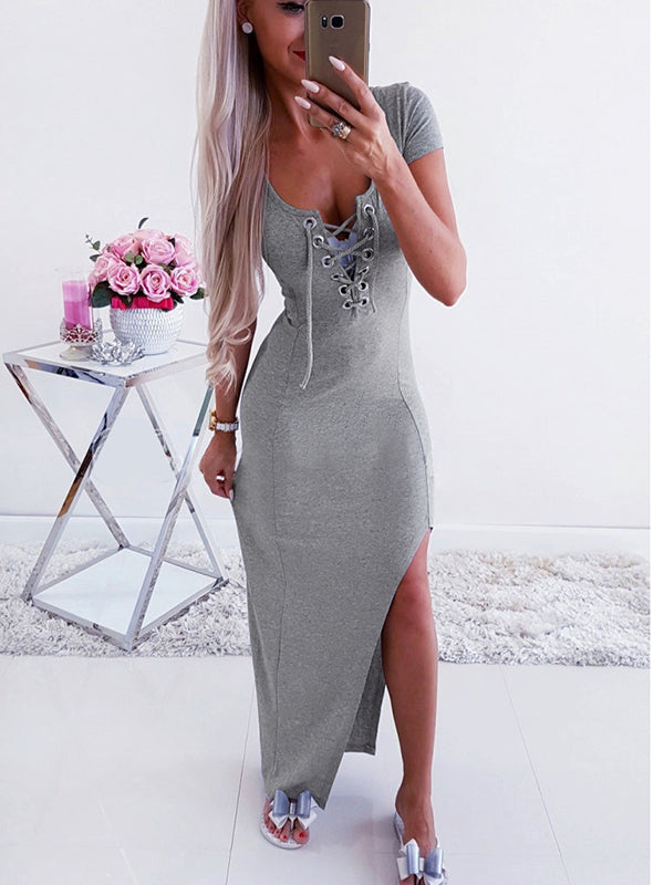 Bandage V-Neck Solid Color Maxi Dress