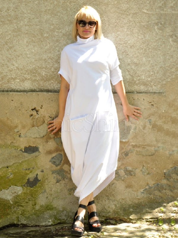 White Loose High-neck Asymmetric Long Dress