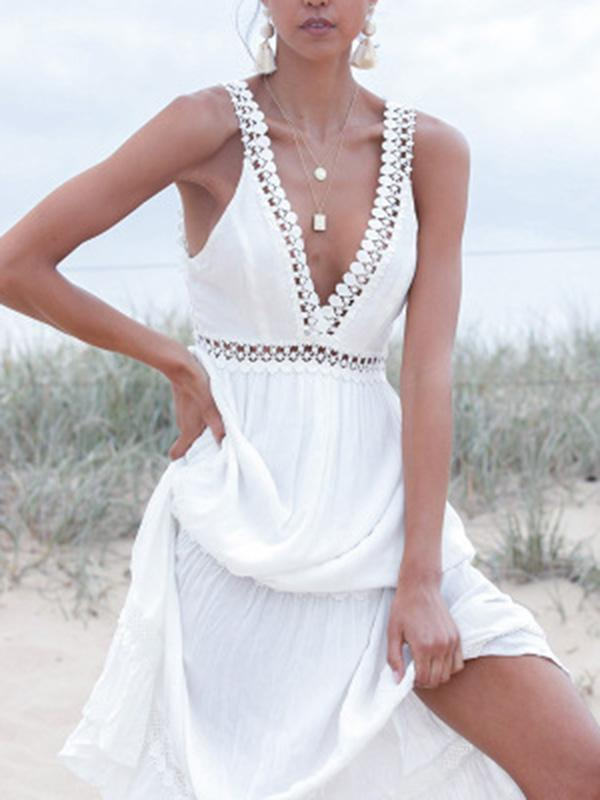 Lace V-neck White Maxi Dress