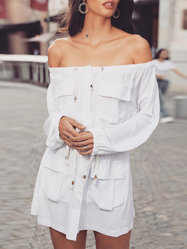 Fashion Off-the-shoulder White Mini Dress