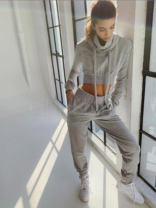 Solid Bare Midriff Hoodie&Pants Sports Suits