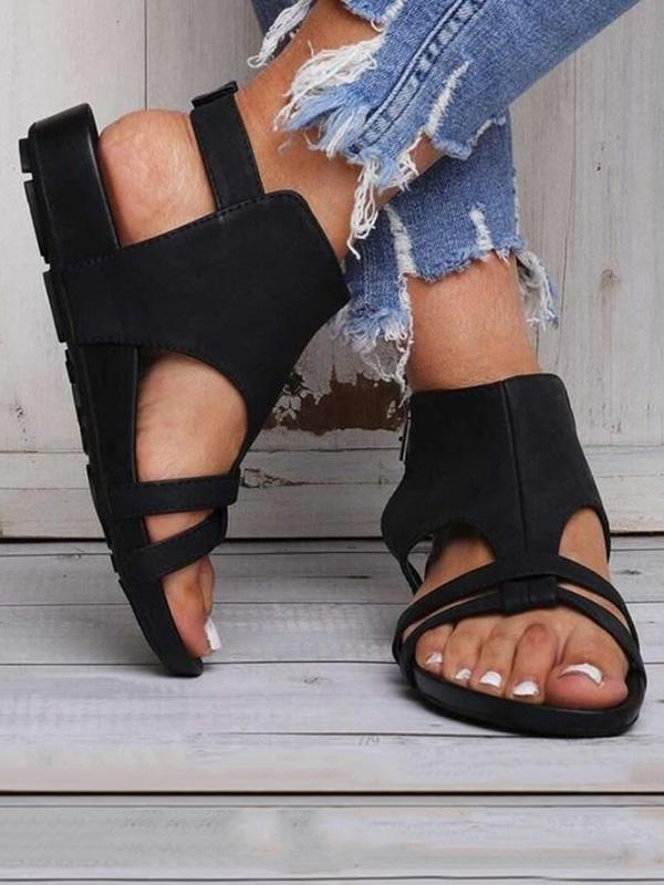 Casual Solid Buckle Sandals