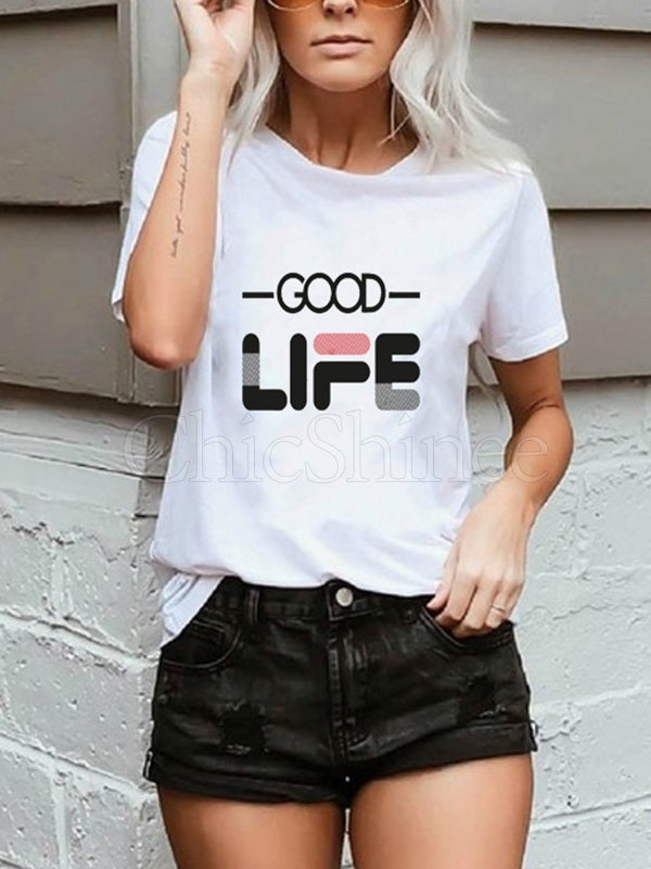 Simple Printed T-Shirts Tops